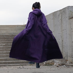 Long Lapel Hooded Coat