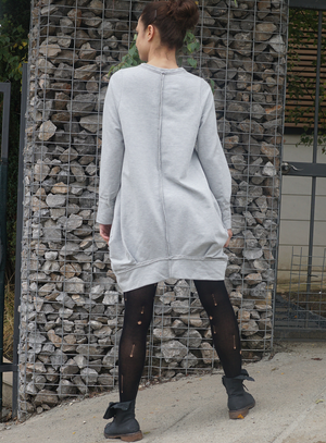 Flattering Asymmetric Gray Dress Tunic