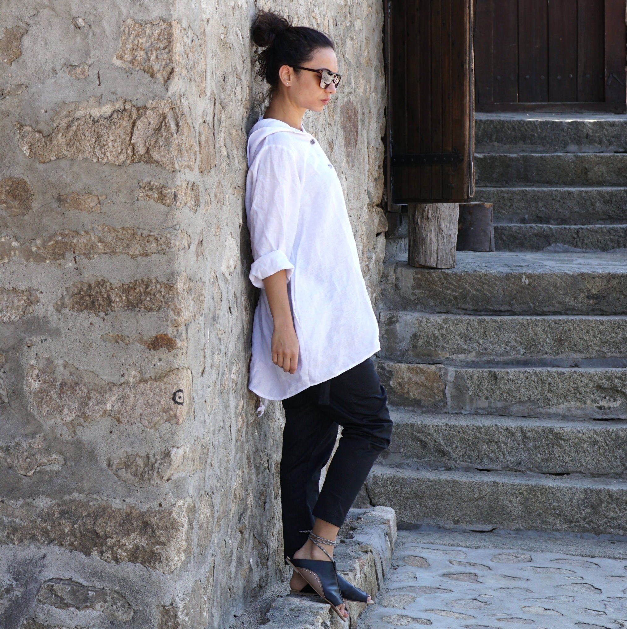 Hooded Linen Shirt