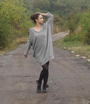 Extravagant Lagenlook Cocoon Dress, Oversized Cotton Autumn Winter Fashion, Rope Adjustable Neck Dress, Loose Fit Flattering Dress Tunic