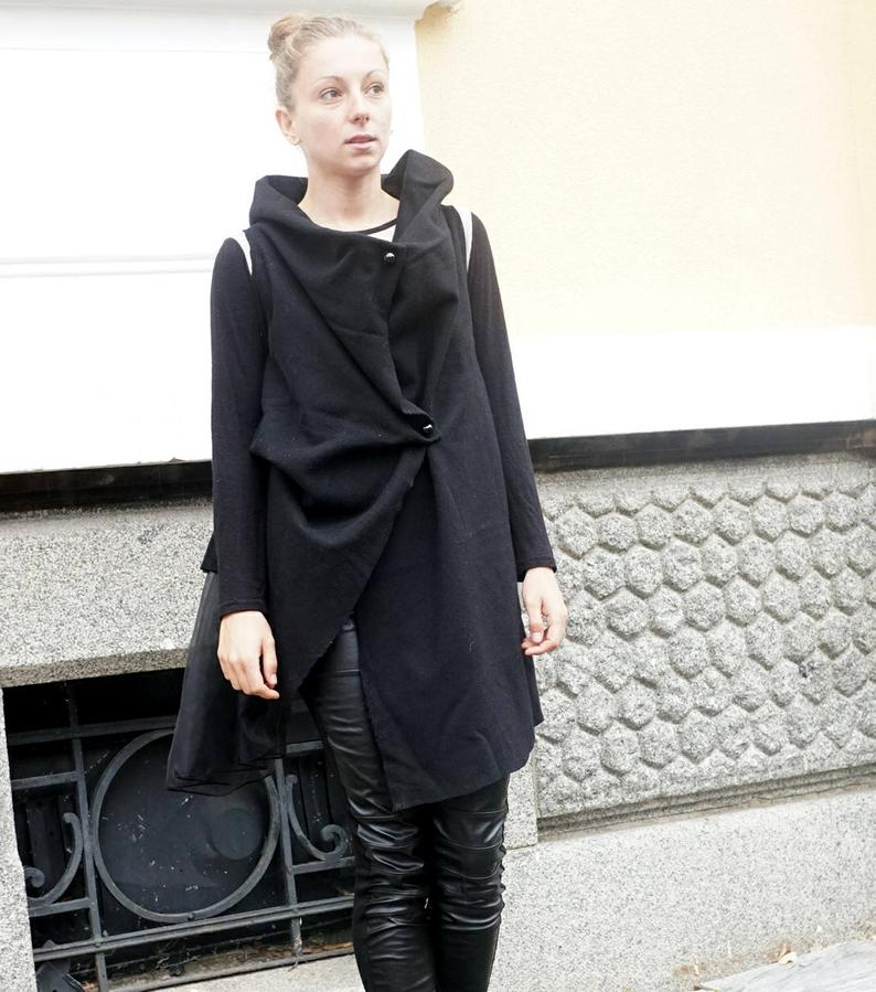 Cashmere Deconstructed Black Coat Vest