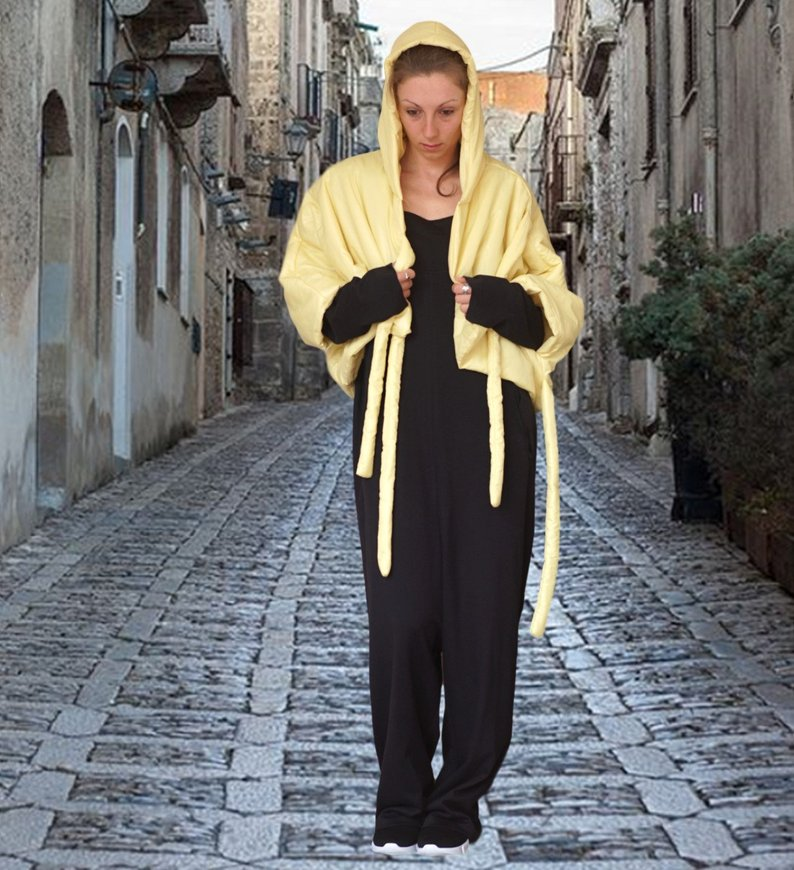 Oversized Short Yellow Puffer Coat