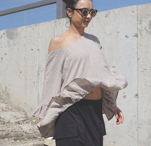 Gauze Beige Flax Top, Oversized Top, Wide Beach Top, Smock Top, Kaftan Top, Linen Clothing, Baggy Top, Oversized Clothing, Flax Clothing