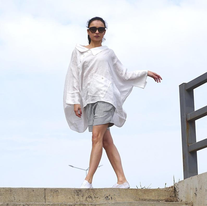 Gauze Linen Shirt, Deconstructed White Shirt, Collared Blouse, Summer White Blouse, Flax Asymmetrical Shirt, Linen Clothing, Oversized Top