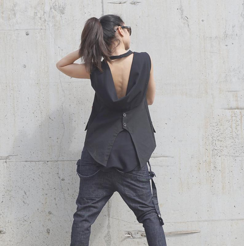 Backless Jacket, Lagenlook Sleeveless Jacket, Black Open Back Top,Clubwear, Normcore Jacket, Novelty Vest, Black Shirt,Collared Black Blouse