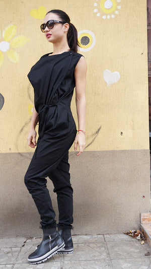 Sexy Black Cotton Drop Crotch Overall