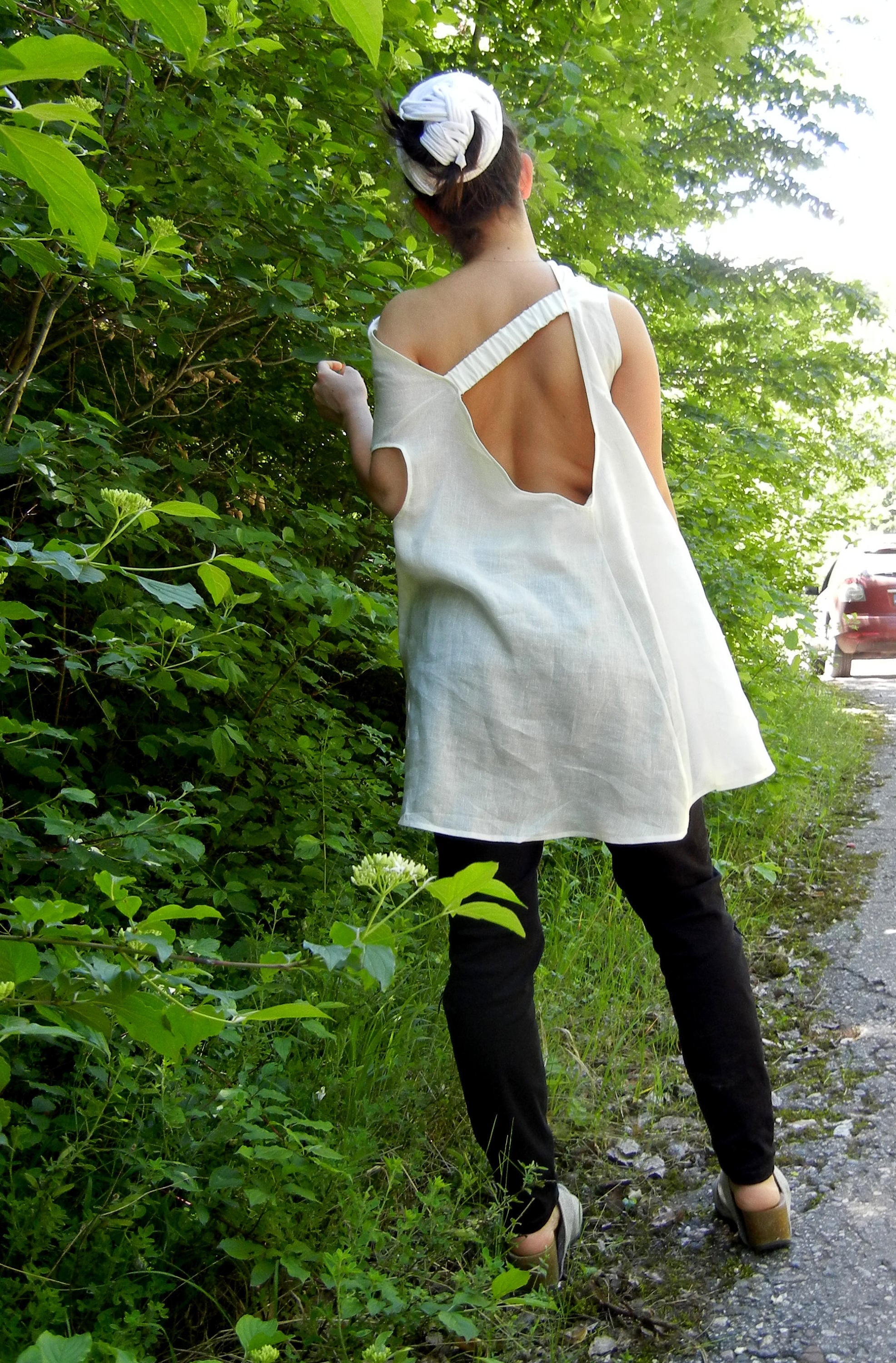 Linen Baggy White Summer Alternative Top Tunic
