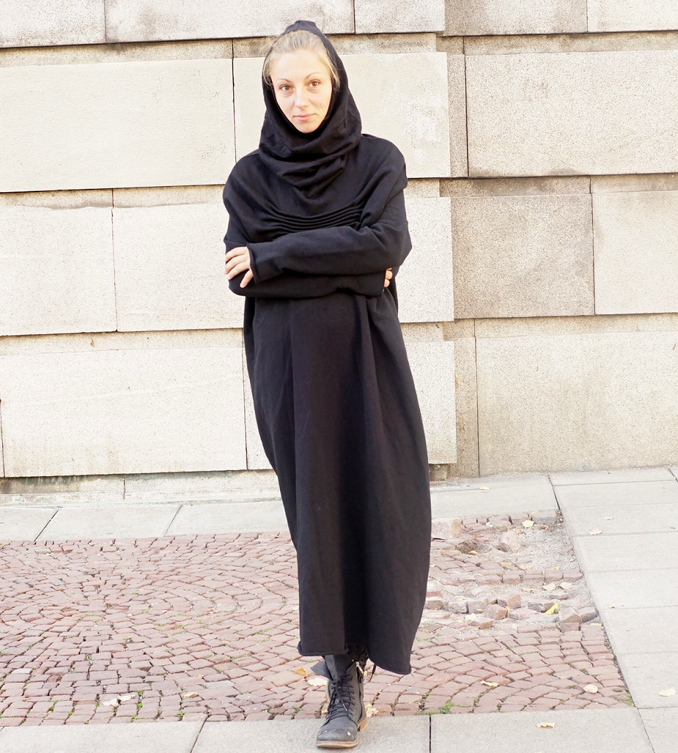 Abaya Maxi Cocoon Hooded Black Dress Gown