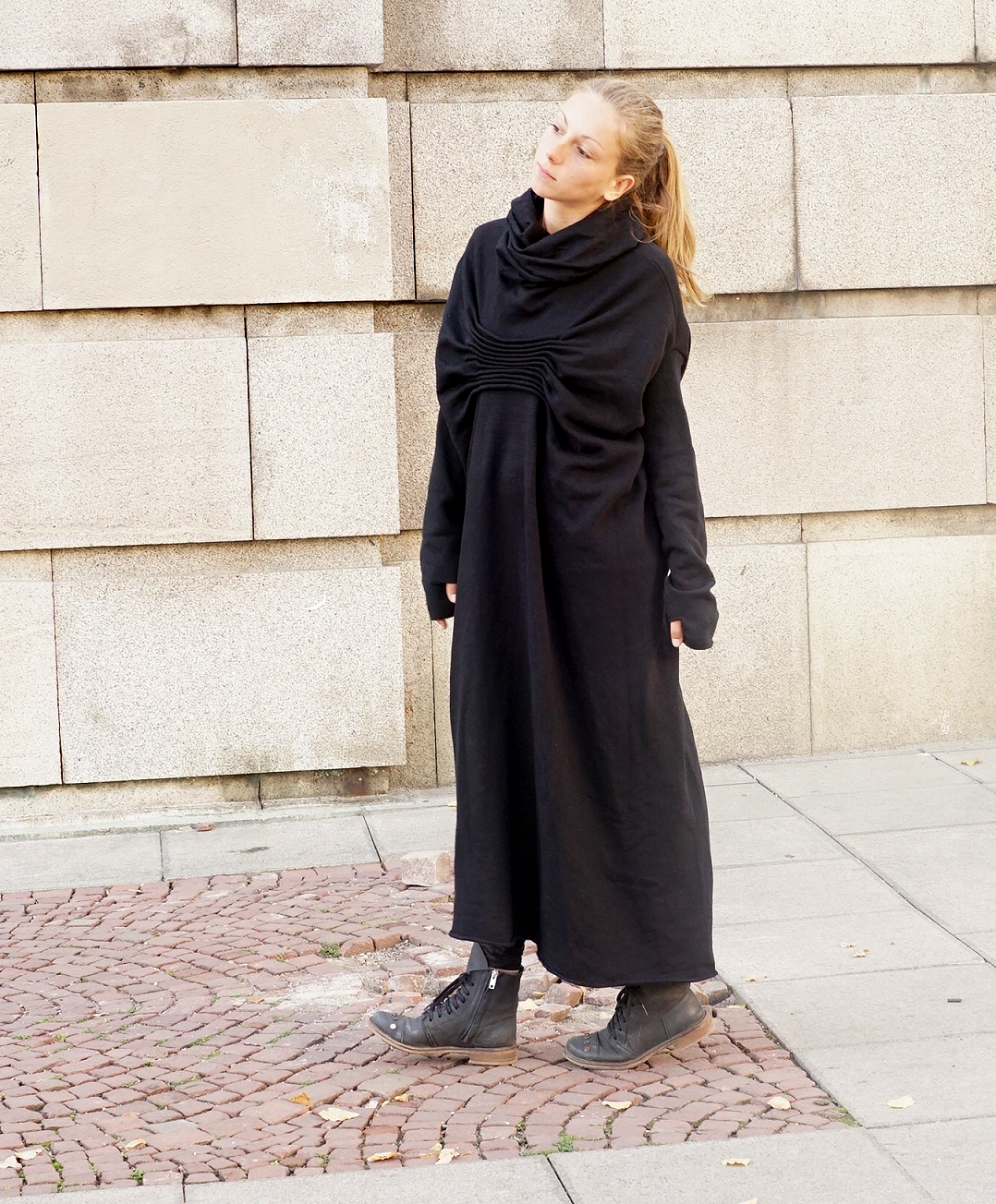 Abaya Maxi Cocoon Hooded Black Dress