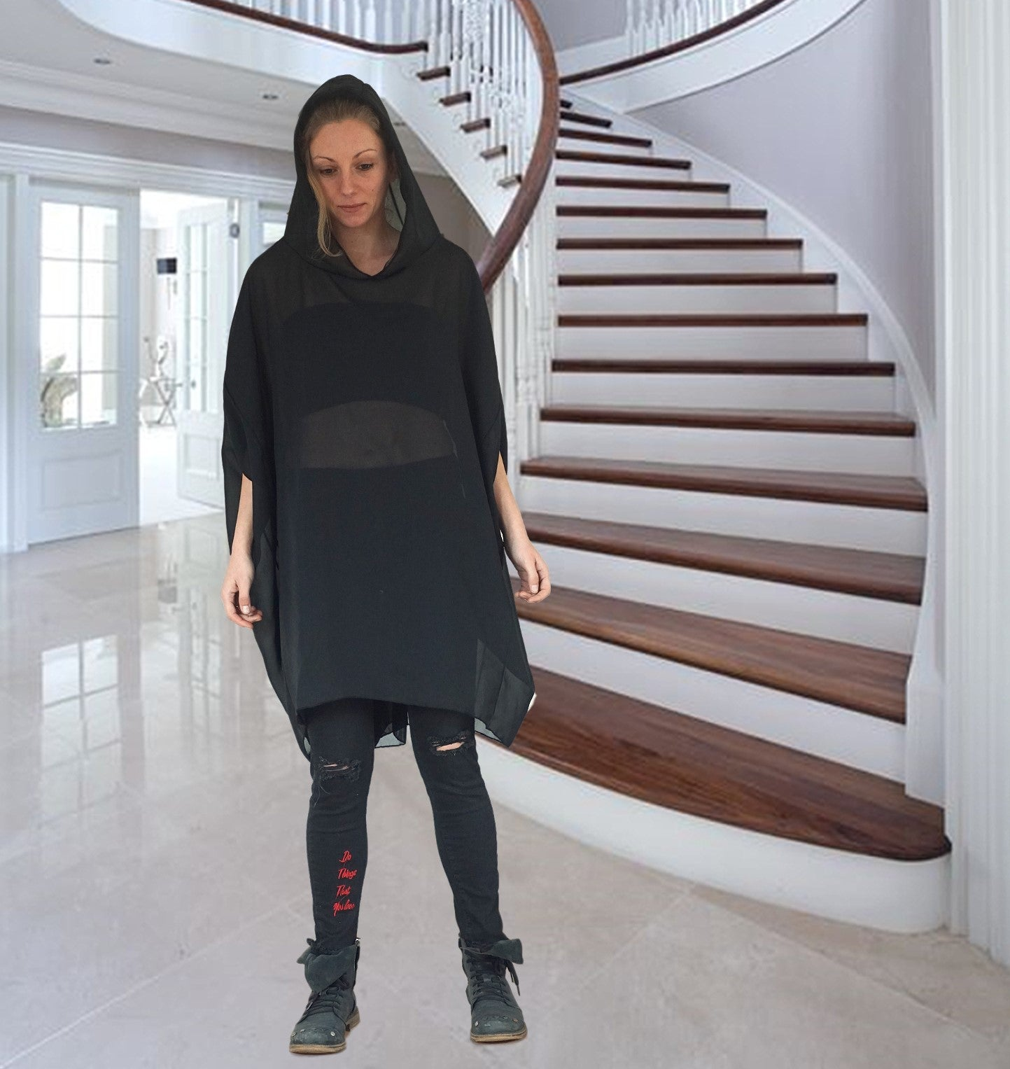 Oversized Black Shiffon Dress Tunic