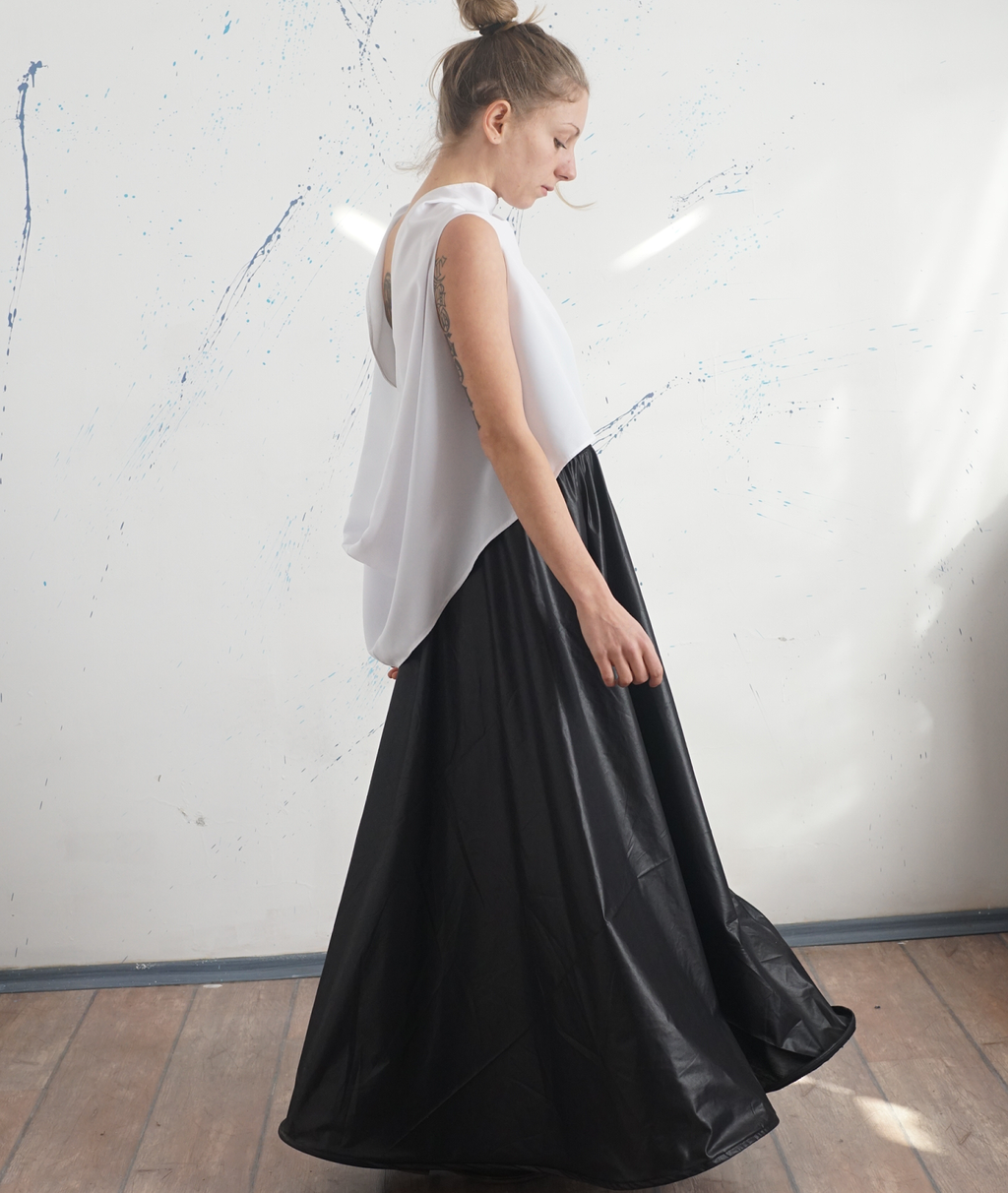 Flared Black Party Taffeta Skirt Pants