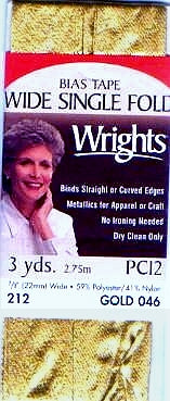 "Wrights Wide Single Fold Lame Bias Tape - 7/8"" Folded Width"