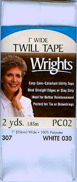 "Wrights Packaged Twill Tape - 1"" Width"
