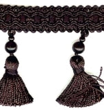 "Wrights Tassel Fringe with Bead - 2 1/2"" Width"
