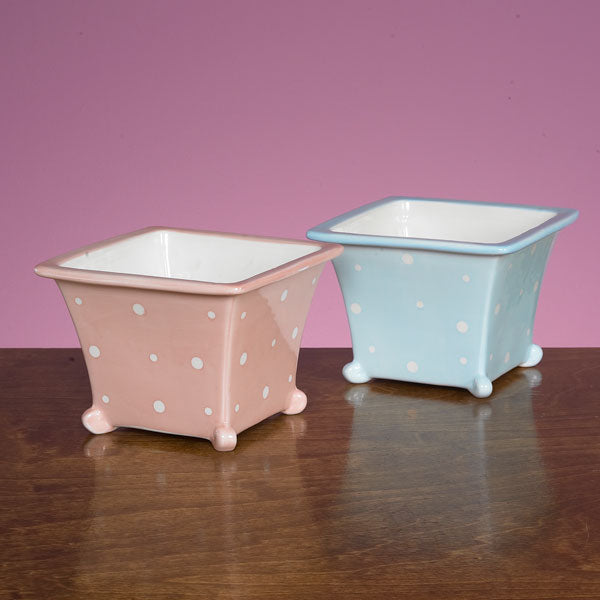JKM Polka Dot Square Planter