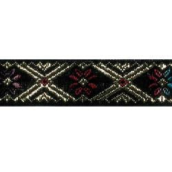 Wrights Woven Flower Band with Metallic - 5/8""