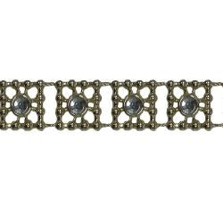 Wrights Beaded Square with Gem - 3/8""