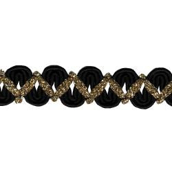 Wrights Black Gold Metallic Novelty Braid - 5/8""