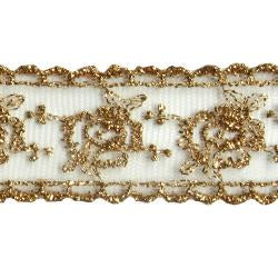 Wrights Sheer Lace Metallic - 1 1/8""