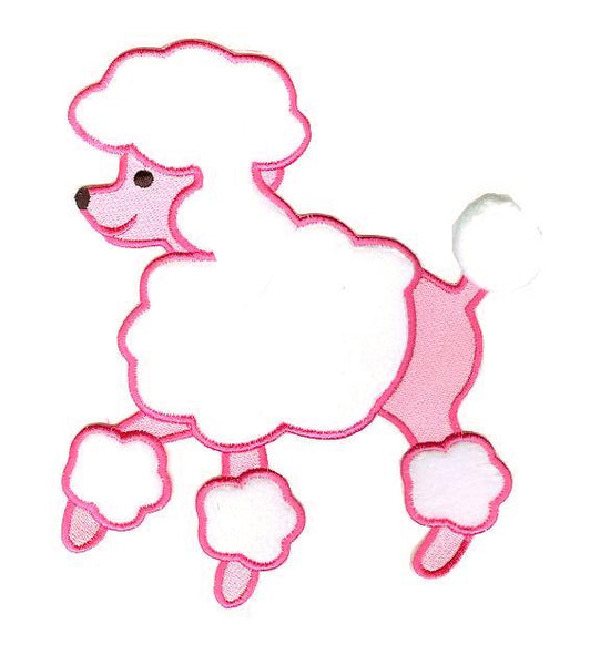 Wrights Large Pink/White Poodle Applique (Sew-On)