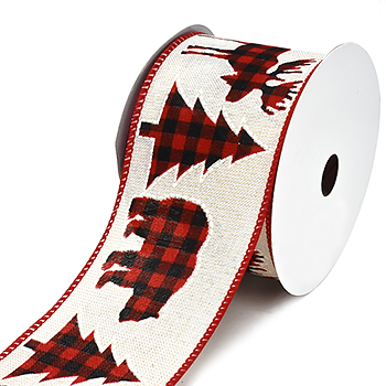 JKM Holiday Cut Outs Buffalo Plaid Ribbon Wire Edge