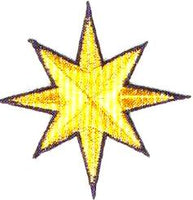 JKM 8 Point Gold Star with Blue Outline Applique (Iron On)
