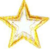 JKM Large Gold/Silver Star with Open Center Applique (Iron On)