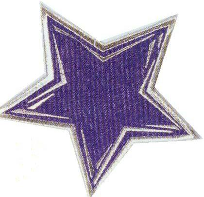 JKM Large Blue Star with Silver Outline Applique (Iron On)