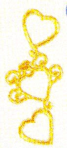 JKM Trio of Gold Hearts Applique (Stick On)