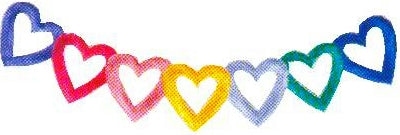 JKM Multi Heart Curved Banner Applique (Stick On)
