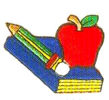 JKM Textbook & Apple and Pencil Applique (Iron On)