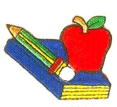 JKM Textbook & Apple and Pencil Applique (Stick On)
