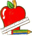 JKM Apple & Ruler and Pencil Applique (Stick On)