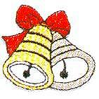 JKM Gold and Silver Bells with Red Bow Applique (Iron On)