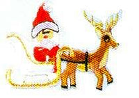 JKM Large Sled with Santa and Reindeer Applique (Iron On)