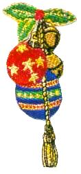 JKM Bells and Balls Ornament with Holly Applique (Stick On)