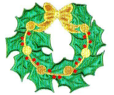 JKM Wreath with Gold Ribbon Applique (Iron On)