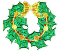 JKM Wreath with Gold Ribbon Applique (Stick On)