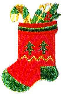 JKM Large Red Stocking Applique (Iron On)