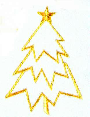 JKM Gold Christmas Tree Style Ii Applique (Stick On)