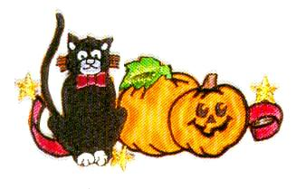 JKM Black Cat and Pumpkins Applique (Iron On)