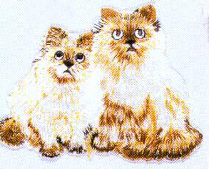 JKM Medium Two Cats Sitting Applique (Stick On)