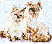 JKM Small Two Cats Sitting Applique (Iron On)