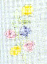 JKM Multi Flower Yellow/Blue/Pink Applique (Iron On)