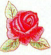 JKM Rose with 3 Leaves Applique (Iron On)