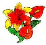 JKM Orange/Red Flower Applique (Iron On)
