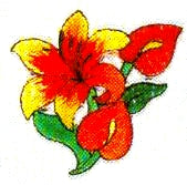 JKM Orange/Red Flower Applique (Stick On)