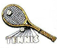 JKM White Tennis Letters with Racket and Balls Applique (Stick On)