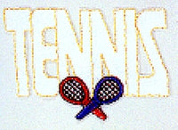 JKM White Tennis with Red and Blue Rackets Applique (Iron On)