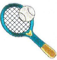 JKM Tennis Racket with Ball Applique (Iron On)